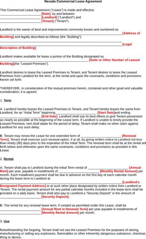 nevada rental agreement   formtemplate