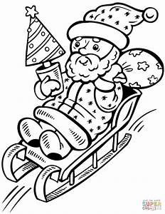 Santa Claus on Sleigh with Christmas Tree coloring page ...