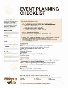 event planning checklist center for campus life With event safety plan template