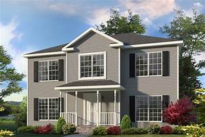 Modern Colonial House Design With Gray Exterior Paint