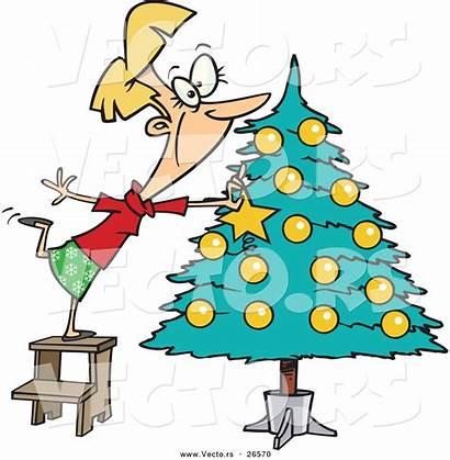 Decorating Tree Christmas Cartoon Decorate Clipart Happy