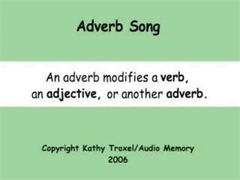 Adverb Song Youtube
