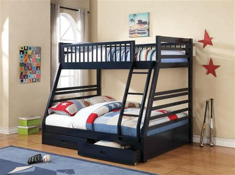 cooper navy blue twin  full bunk bed
