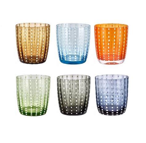 bicchieri acqua colorati carnival set 6 bicchieri acqua in vetro colorato