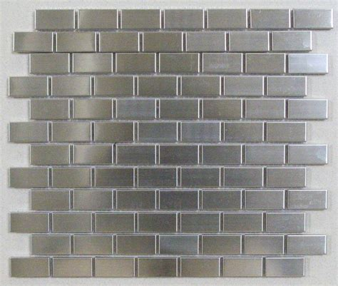 silver stainless steel tile brick joint 1x2 contemporary