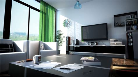 exclusive design modern black and white living room green