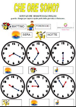 giochi e colori schede didattiche maestro fabio schede didattiche di storia l orologio