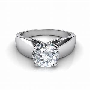 wide band cathedral solitaire engagement ring With solitaire wedding ring