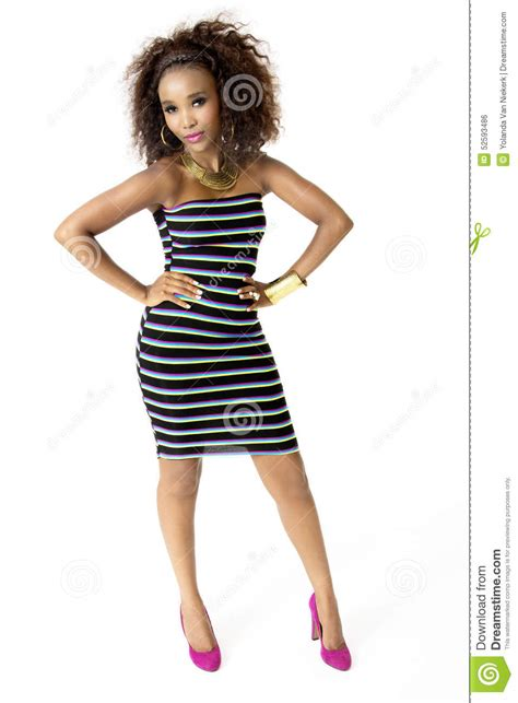 Beautiful Model And Dressed Model Wearing Striped Dress Gold Jewellery