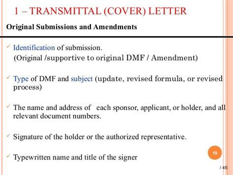 fda cover letter guidance dmf master file