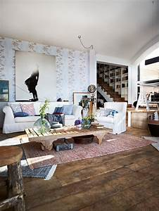 wohnzimmer im vintage look roomidocom With balkon teppich mit braune tapeten wohnzimmer