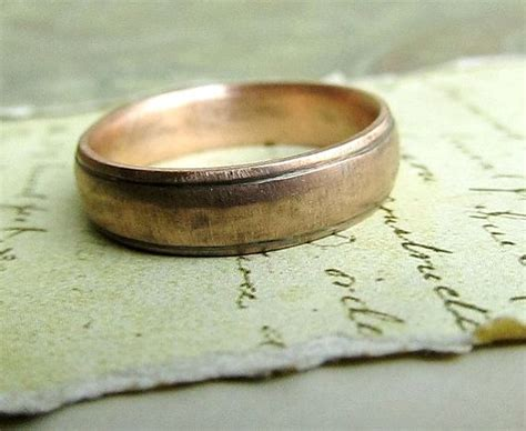 gold wedding band rustic men s ring 14k rose gold