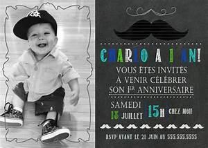 Texte Anniversaire 1 An Garçon : carte d 39 invitation 1er anniversaire th me moustache ~ Melissatoandfro.com Idées de Décoration