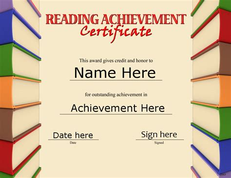 Reading certificate template costumepartyrun certificate of reading achievement template image yelopaper Gallery