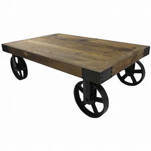Roue Industrielle Pour Table Basse : table basse bois et m tal sur roulette ~ Nature-et-papiers.com Idées de Décoration