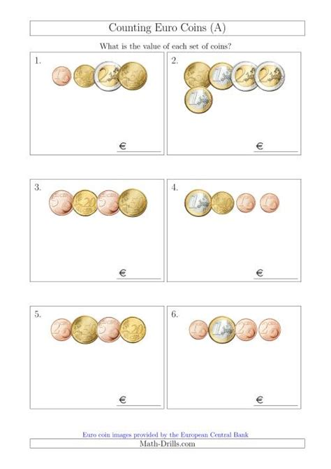 counting small collections  euro coins  money worksheet