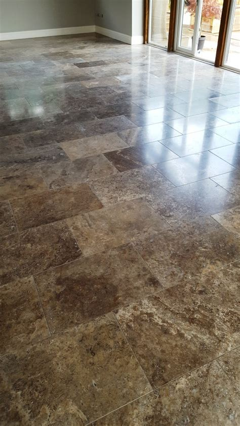Travertine Floor Cleaning Service by Builders Clean Of A New Polished Travertine Floor