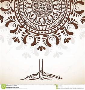 Floral Greeting Card With Arabic Text For Eid. Stock ...