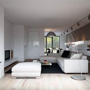 Indulgent grey apartment floor lamp lit living with