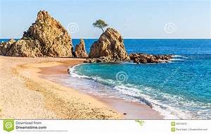 Beach In Tossa De Mar, Costa Brava, Catalonia Stock Photo ...
