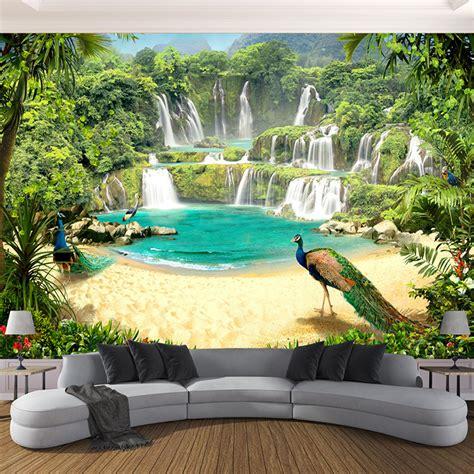 custom  wallpaper murals waterfall peacock lake