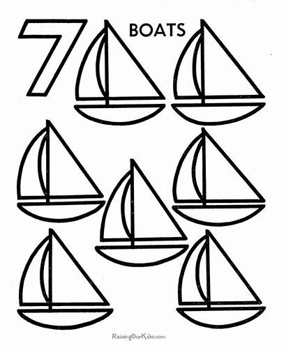 Coloring Pages Counting Number Numbers Objects Preschool