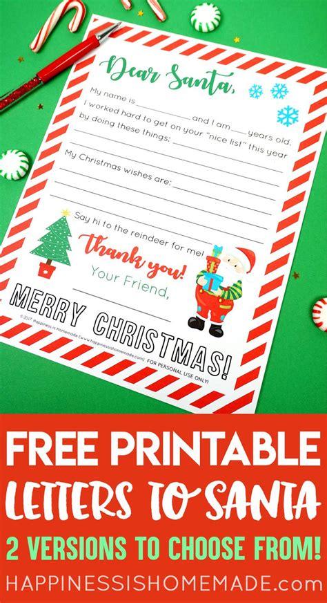 letter  santa printables  cute printable letter