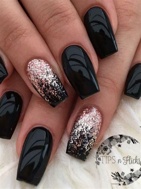 black glitter   cute nails