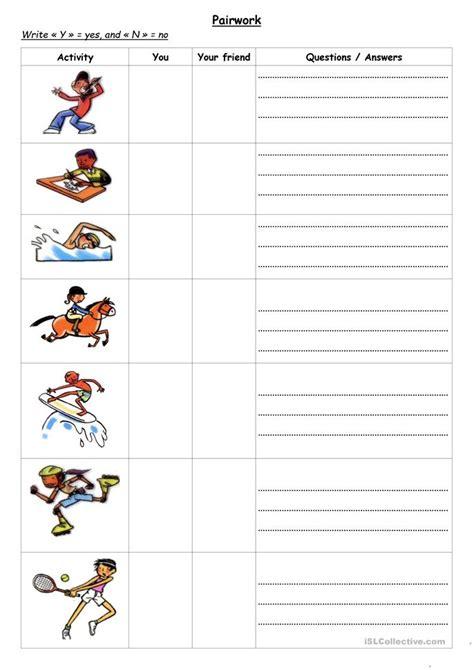 Pairwork Can You ? + Hobbies  Sports Worksheet  Free Esl Printable Worksheets Made By Teachers
