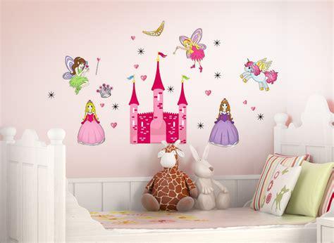 Wandtattoo Prinzessin Und Feen Mit Schloss + Sterne Und