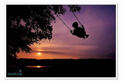 Sunset Warm Silhouette Adore Enjoying Swing Evening