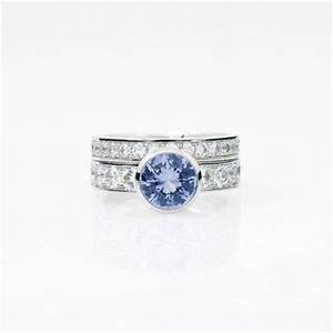 engagement ring set light blue sapphire ring white gold With light blue wedding ring