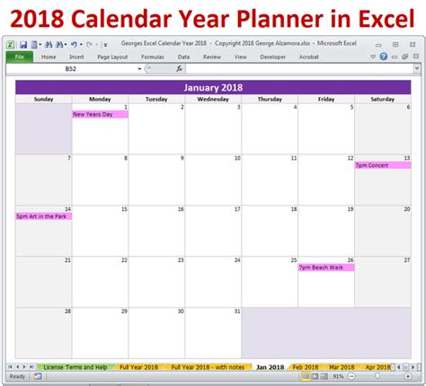 calendar year  excel spreadsheet printable