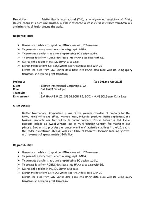 sap hana resume
