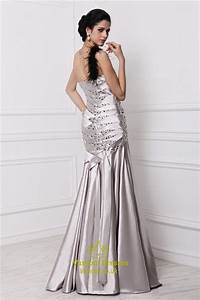 Strapless Dropped Waist Floor Length Prom Dress With Beads ...