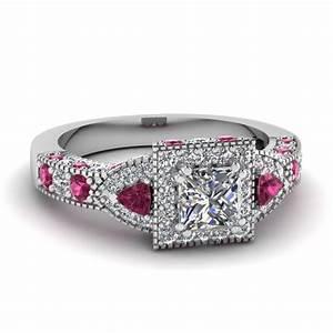 Trillion halo princess cut diamond engagement ring with for Princess cut pink diamond wedding rings