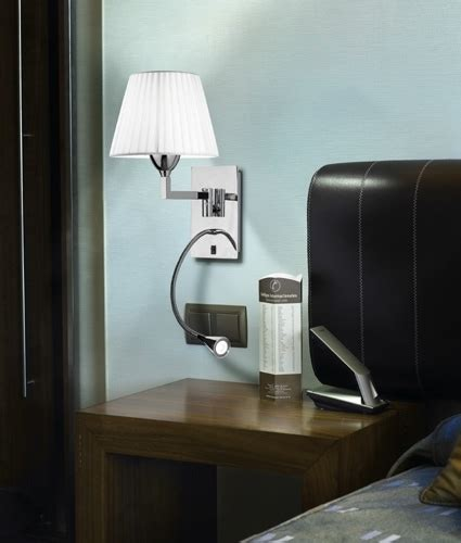 hotel style bedside ls white shade wall with led arm chrome