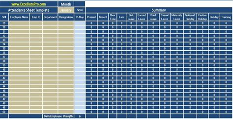 attendance template excel free hr templates in excel