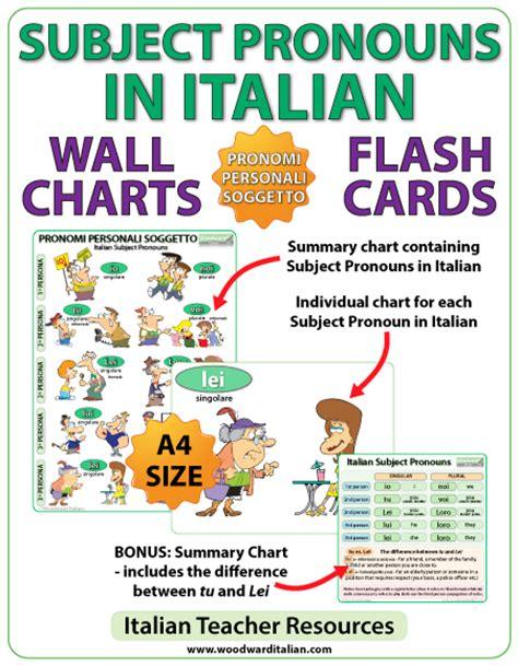 Italian Subject Pronouns  Chart  Flash Cards  Woodward Italian