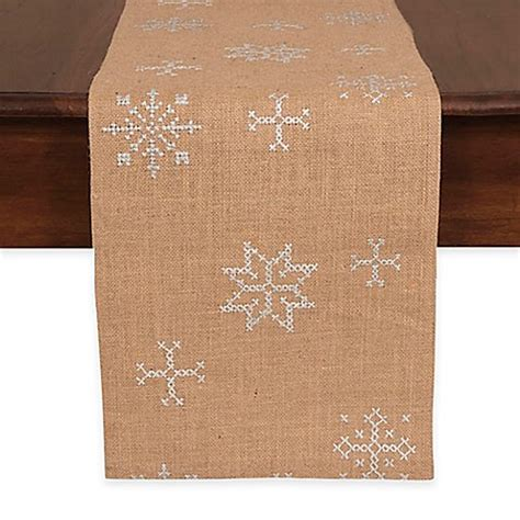72 inch table runner jute embroidered snowflake 72 inch table runner