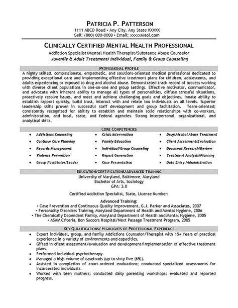 mental health resume sle career resume exles resume tips counselor description