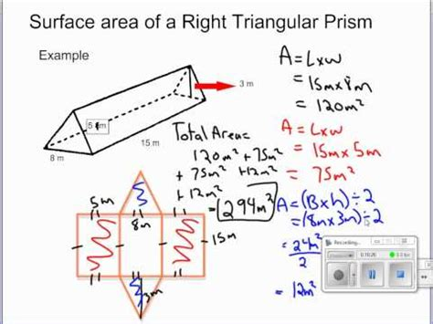 Youtube  Solving For Surface Area Of Retangular Prisms, Right Triangular Prisms And Cylinders