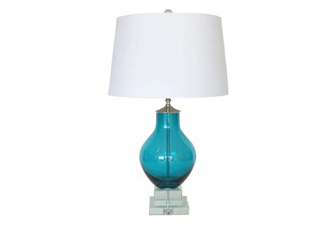 Deep Turquoise Blue Glass Lamp, Crystal Base   Omero Home