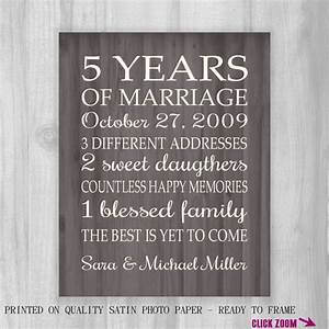 5th anniversary gift print faux wood 5 years 10 15 20 25 With 5 year wedding anniversary gifts for him