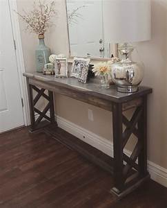 Rustic farmhouse entryway table sofa table by modernrefinement for Couch and sofa table in front of window