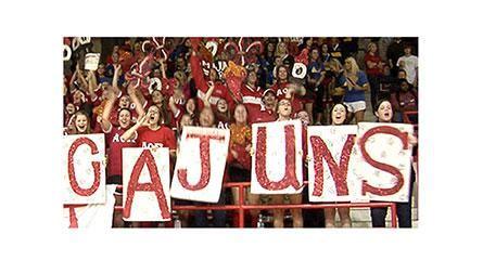 ragin cajun fans set yell hell pep rally university