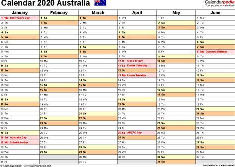australia calendar word calendar templates
