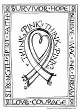Coloring Pages Pink Cancer Breast Ribbon Think Printable Zenspirations Downloadable Awareness Card Cards Colouring Month Colors Survivor Adult Getcolorings October sketch template
