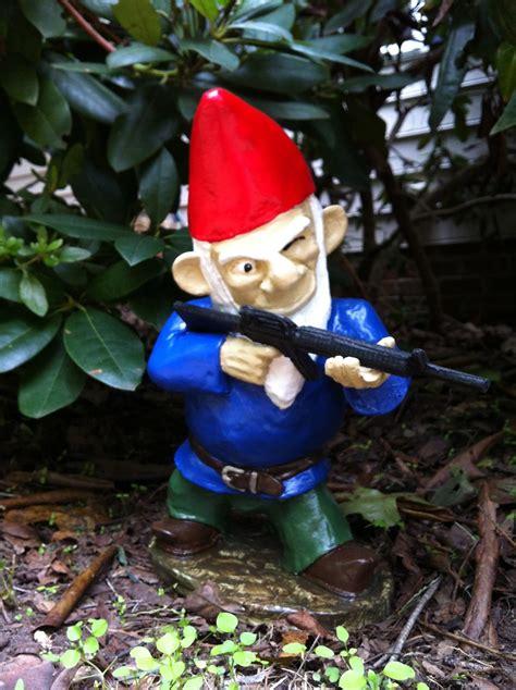 garden gnomes  guns photograph  gnomes   patrol