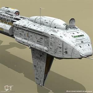 3d cargo spacecraft spaceship model